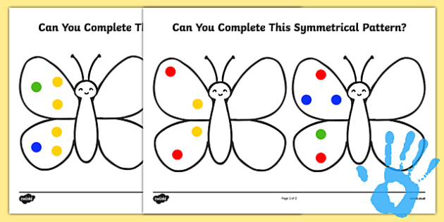 Complete a Symmetrical Butterfly Pattern Fingerprint Activity Sheet - maths, ssm, shape space measure, painting activities, worksheet