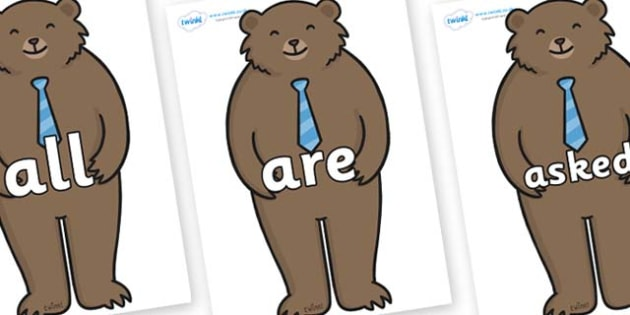 Tricky Words on Daddy Bear - Tricky words, DfES Letters and Sounds, Letters and sounds, display, words