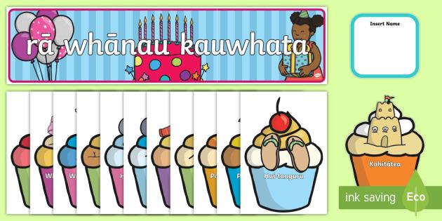 Birthday Graph Display Pack Te Reo Māori - Te Reo, Maori, Birthdays, statistics, pictograph, cupcakes, birthday display