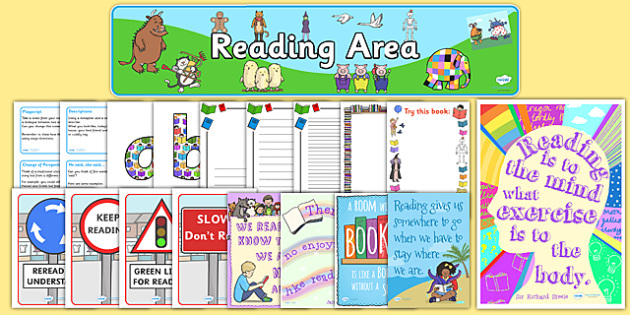 Reading Book Area Resource Pack - reading book, reading, books, reading book area, resource pack, reading book resources, reading resources, reading pack