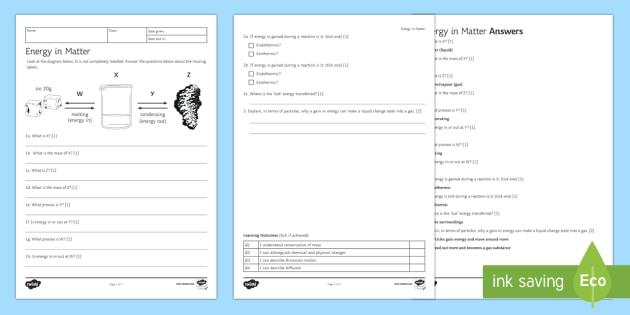 KS3 Energy in Matter Homework Activity Sheet - Homework, energy, solid, liquid, gas, states of matter, matter, endothermic, exothermic, changing st