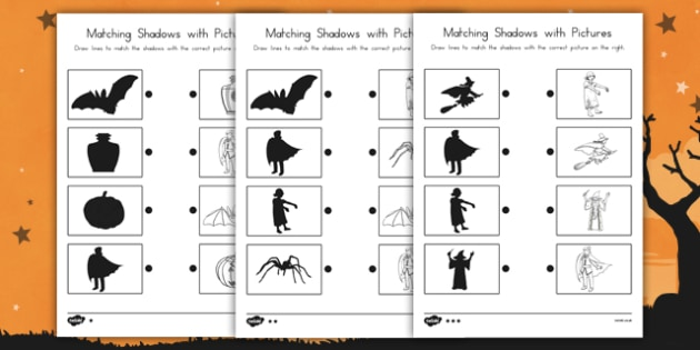 Halloween Shadow Matching Worksheet - comparing, speaking and listening, activity, fun and games,