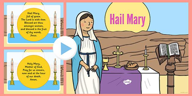 Hail Mary Prayer PowerPoint - hail mary, prayer, powerpoint, words