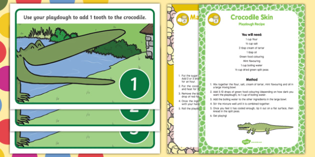 Crocodile Counting Playdough Recipe and Mat Pack to Support Teaching on The Enormous Crocodile