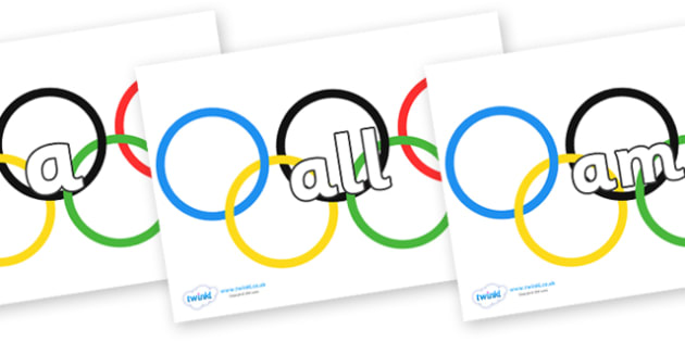 Foundation Stage 2 Keywords on Olympic Rings - FS2, CLL, keywords, Communication language and literacy,  Display, Key words, high frequency words, foundation stage literacy, DfES Letters and Sounds, Letters and Sounds, spelling
