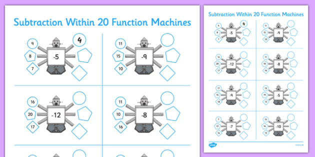 Subtraction Within 20 Function Machines - CfE, function machines, subtraction, maths