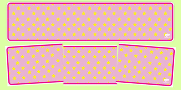 Pink with Yellow Stars Editable Display Banner - pink, yellow, display, banner, display banner, display header, themed banner, editable banner, editable