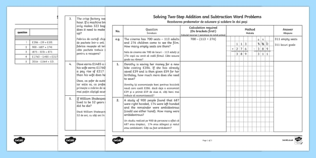 Solving Two Step Addition and Subtraction Word Problems Romanian/English