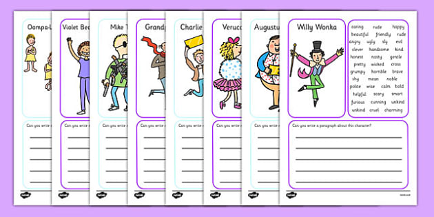 Character Description Writing Frame to Support Teaching on Charlie and the Chocolate Factory - Charlie and the chocolate factory writing frames, writing frames