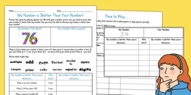 My Number is Better Than Your Number Activity Sheet - activity, worksheet