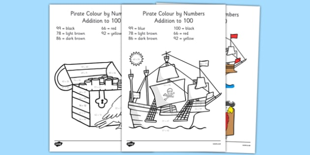 Pirate Colouring Sheets Twinkl : Pirate themed addition to 100 colour by numbers pirate