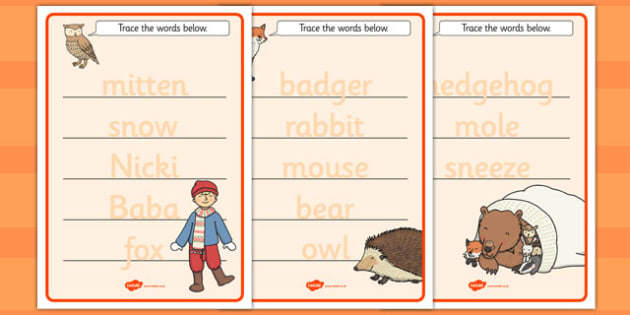 The Mitten Trace the Words Worksheets - the mitten, trace, words