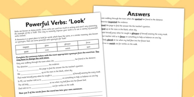 Powerful Verb Worksheet Look - powerful, verb, worksheet, look