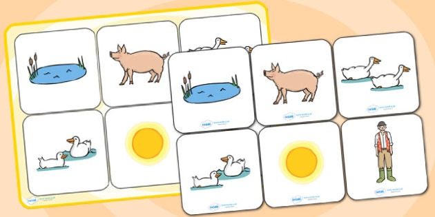 Matching Cards and Board to Support Teaching on Pig in the Pond - pig in the pond, pig in the pond matching cards, pig in the pond image matching game, sen storybook activities
