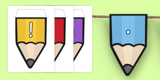 Punctuation on Pencil Bunting - punctuation, pencil, bunting, display, display bunting