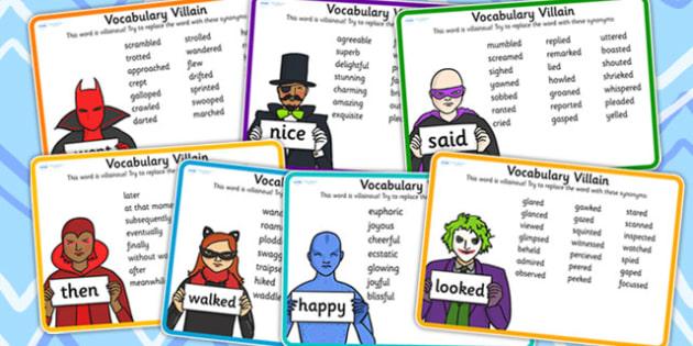 Vocabulary Villain Word Mat Pack -  wow words, vocabulary
