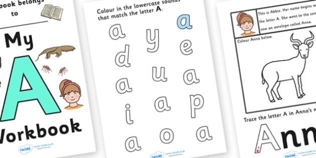 My Workbook A uppercase - workbook, A sound, uppercase, letters, alphabet, activity, handwriting, writing