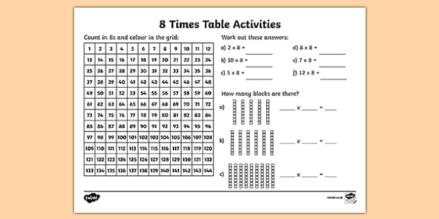 8 Times Table Activity Sheet - eight times table, maths, mathematics, multiplication, multiply, times, worksheet, times table, times tables