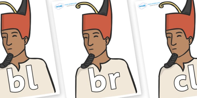 Initial Letter Blends on Egyptian Kings - Initial Letters, initial letter, letter blend, letter blends, consonant, consonants, digraph, trigraph, literacy, alphabet, letters, foundation stage literacy