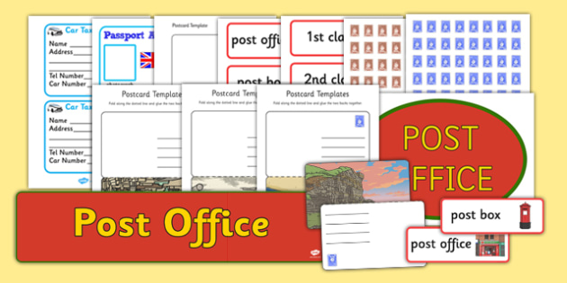 Post Office Role Play Pack - Post Office role play, display, post office, role play, letters, stamps, stamp, mail, post, postman, delivery, passport, car tax, mail bag, envelope