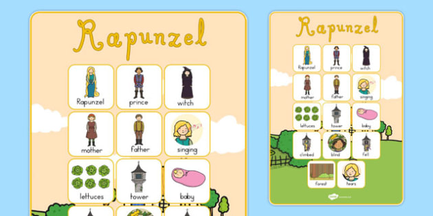 Rapunzel Vocabulary Poster - australia, rapunzel, poster, display