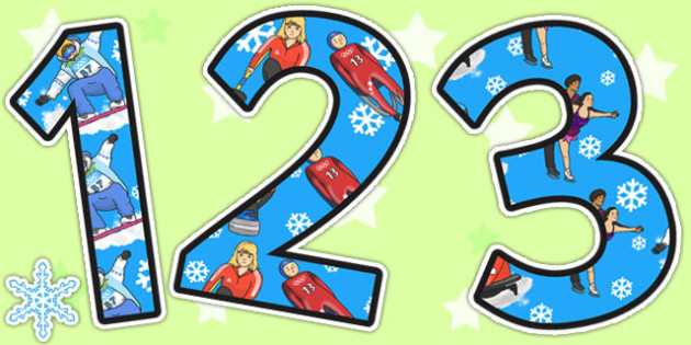 Winter Olympics Themed Display Numbers - winter, olympics, number