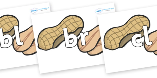 Initial Letter Blends on Peanuts - Initial Letters, initial letter, letter blend, letter blends, consonant, consonants, digraph, trigraph, literacy, alphabet, letters, foundation stage literacy
