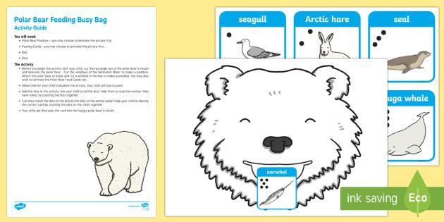 Polar Bear Feeding Posting Busy Bag Resource Pack for Parents - Polar Regions, arctic, antarctic, polar animals, arctic animals, dice