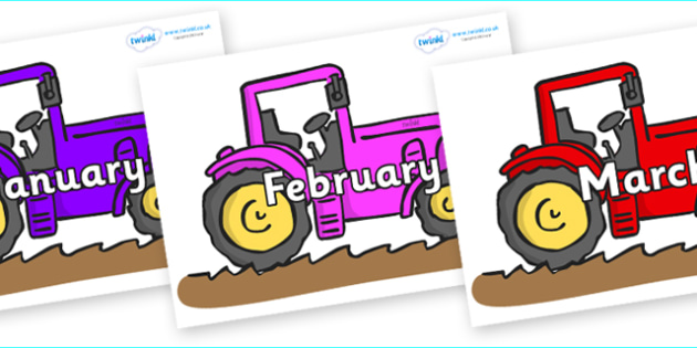 Months of the Year on Tractors - Months of the Year, Months poster, Months display, display, poster, frieze, Months, month, January, February, March, April, May, June, July, August, September