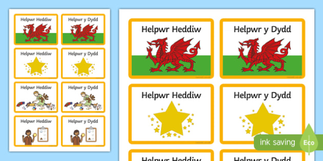 Helpwr Heddiw Badges-Welsh, helpur heddiw