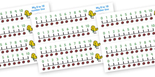 Ladybird Number Line (0-10) - Counting, Numberline, Number line, Counting on, Counting back, ladybird, animal, red, black