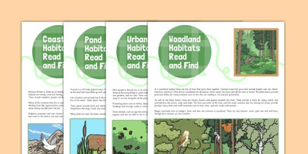 British Habitats Read and Find Activity - british habitat, read, find, activity
