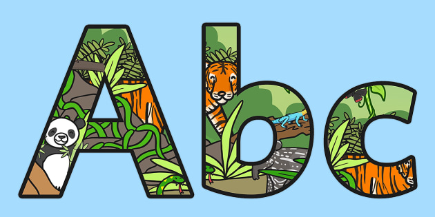 Jungle Themed Display Lettering - jungle, jungle display, letters