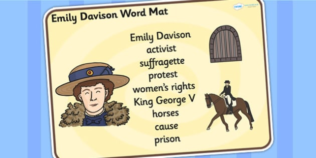 Emily Davison Word Mat - emily davidson, word mat, topic words, topic mat, themed word mat, writing aid, mat of words, key words, keywords, key word mat
