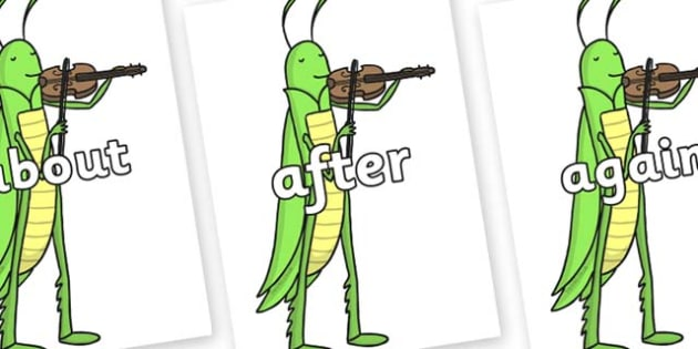 KS1 Keywords on Grasshopper - KS1, CLL, Communication language and literacy, Display, Key words, high frequency words, foundation stage literacy, DfES Letters and Sounds, Letters and Sounds, spelling
