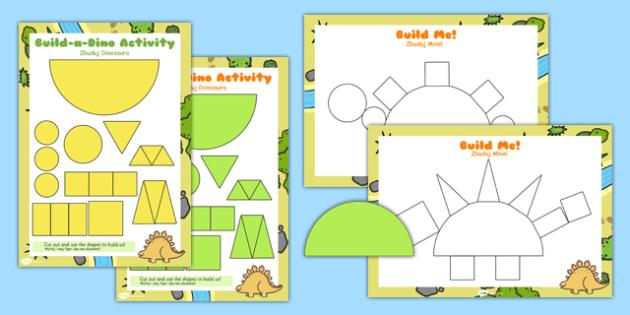 Build a Shape Dinosaur Activity Polish Translation - polish, build, dinosaur, shape activity