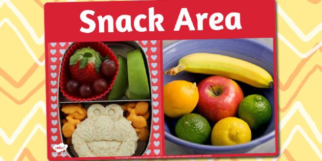 Snack Area Photo Sign - snack area, photo, sign, display, area