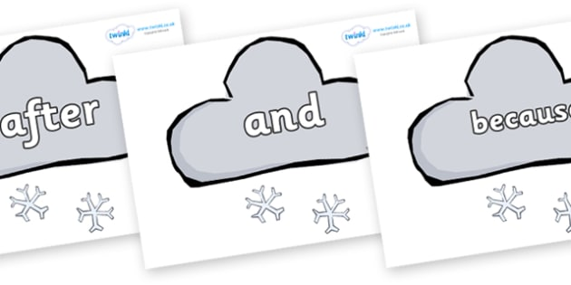 Connectives on Weather Symbols (Snow) - Connectives, VCOP, connective resources, connectives display words, connective displays
