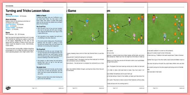 LKS2 Football Skills 4: Turning Lesson Pack - football, PE, sport, exercise, KS2, LKS2, Key Stage 2,  year 3, year 4, skills, physical education, ball skills, team sports