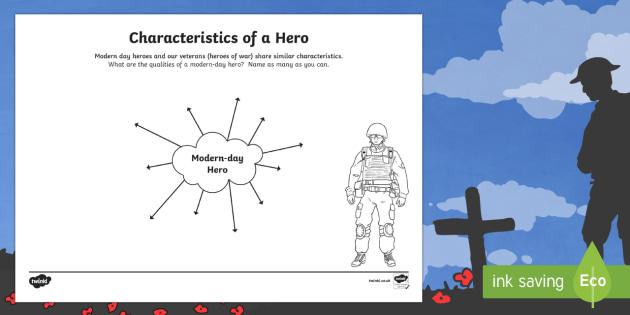 Characteristics of a Hero Activity Sheet