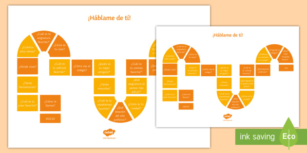Tell Me About You Present Tense Board Game Spanish - Spanish, speaking, game, board game, present tense, introducing youself, getting to know you