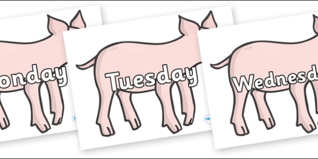 Days of the Week on Piglets - Days of the Week, Weeks poster, week, display, poster, frieze, Days, Day, Monday, Tuesday, Wednesday, Thursday, Friday, Saturday, Sunday