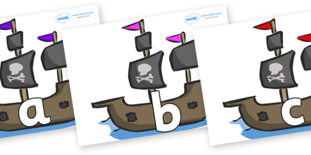 Phoneme Set on Pirate Ships - Phoneme set, phonemes, phoneme, Letters and Sounds, DfES, display, Phase 1, Phase 2, Phase 3, Phase 5, Foundation, Literacy