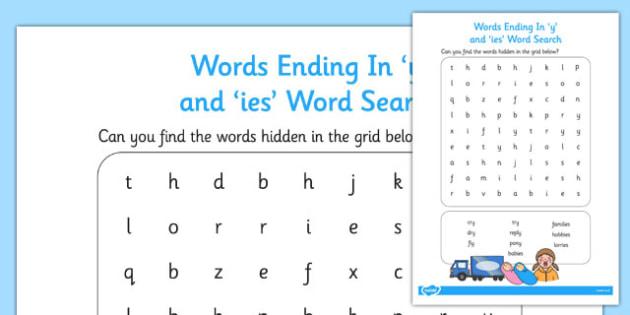 Words Ending in y and ies Word Search - wordsearch, y, ies, end