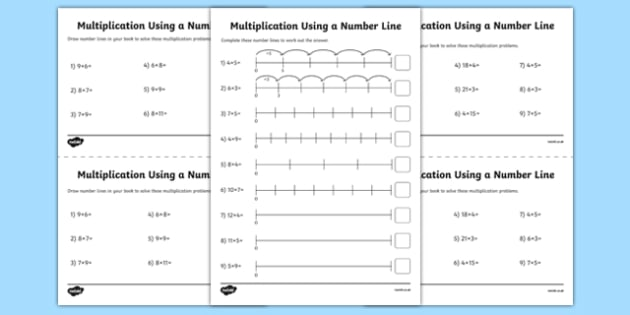 Multiplication on a Number Line Activity Sheet Pack - year 2, ks1, key, stage, one, 1, repeated addition, calculation, multiply, maths, worksheet