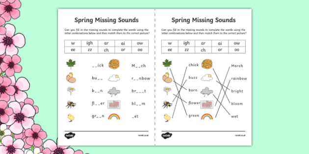 Spring Missing Sounds Worksheet - spring, phase 3, phases