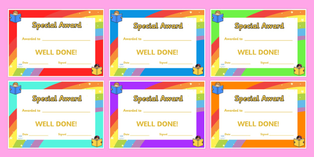 Special Award Certificates - special award certificates, certificates, award, well done, reward, medal, rewards, school, general, certificate, achievement
