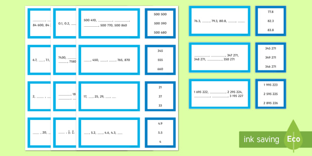 Sequence and Term Matching Cards