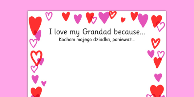 I Love My Grandad Because Page Borders Polish Translation - polish, granddad, because, borders