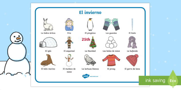 Winter Word Mat Spanish - Winter, KS2, word mat,Spanish